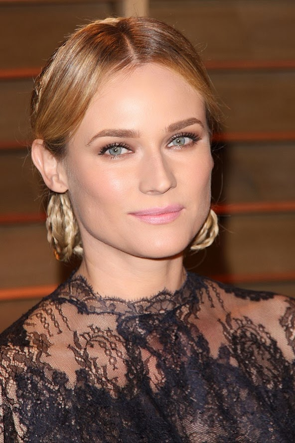 Diane Kruger wearing a braided hairstyle on the red carpet at the oscars