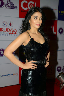 Actress Shriya Saran Latest Picture in Black Long Dress at CCL Charity Dinner 35