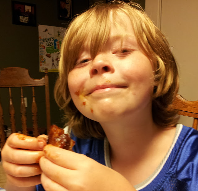 Rural Boy eating Rural Mom Barbecue Spareribs
