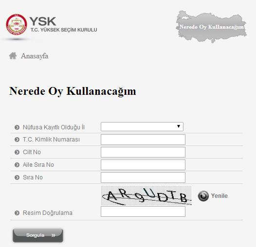 YSK İnternet Sitesi Seçmen Sorgulama