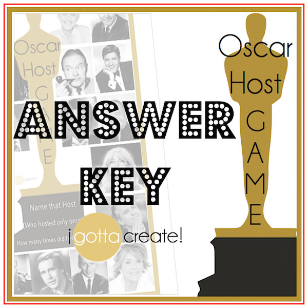 Name That Oscar Host! Here is the answer key to the printable game for your Academy Awards watch party from I Gotta Create!