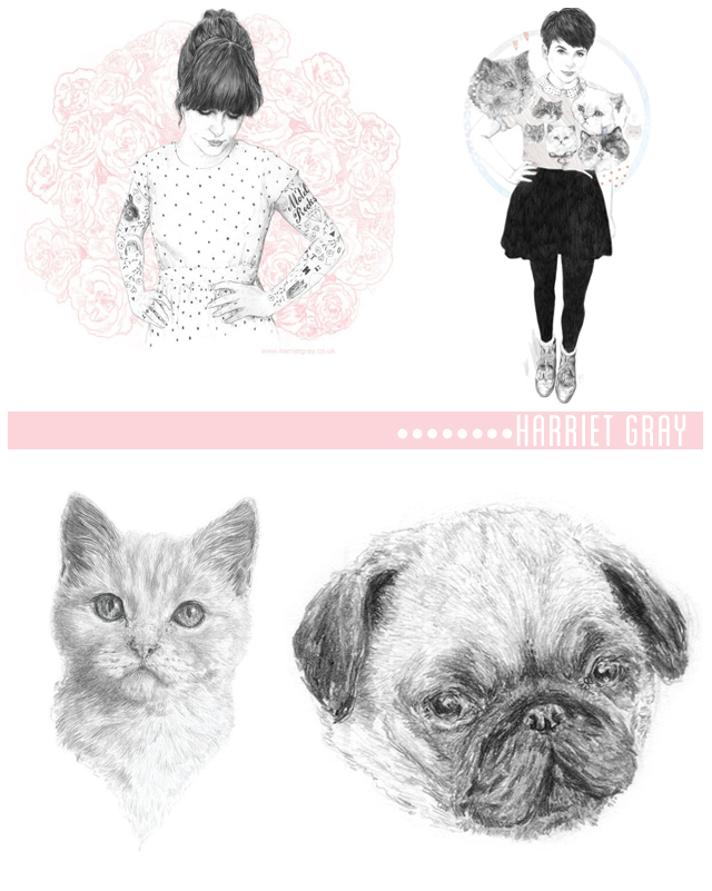 illustrations by harriet gray - motel rocks, gem fatale, kitten and pug
