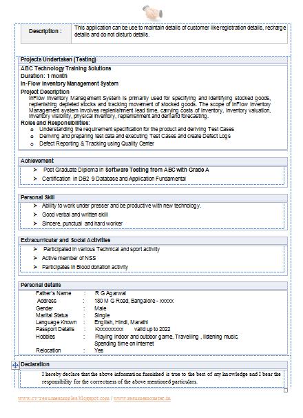 Resume doc format