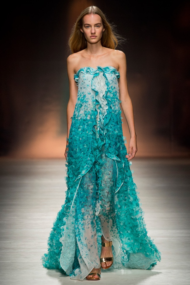 Blumarine 2015 SS Green Petal Print Embroidered Gown on Runway