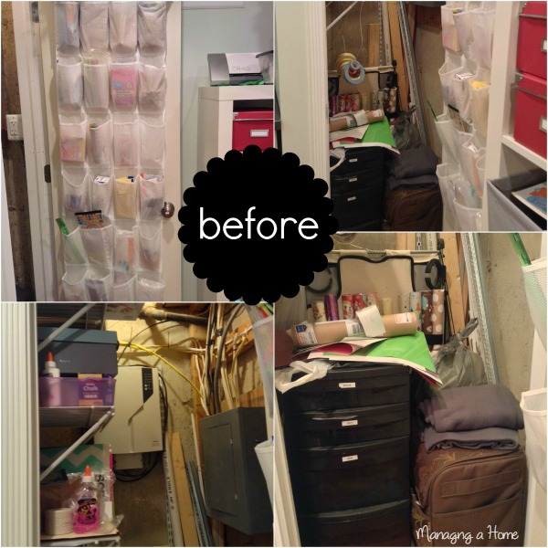 "Before pictures of the ""somewhat organized"" craft closet - Operation Project Organize"