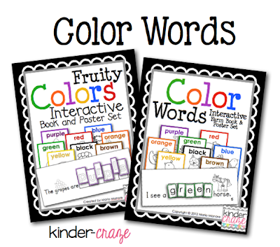 Interactive books and Poster sets to teach color words, $4 each