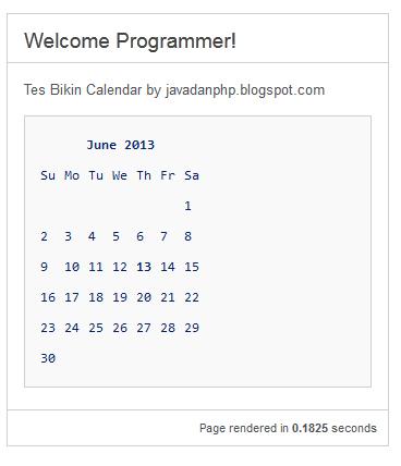 Mudahnya Menciptakan Kalender Dengan Code Igniter