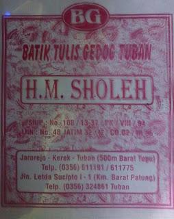 Tampilan lama plastik kemasan Batik HM Sholeh Tuban, Tampilan batik Tuban.