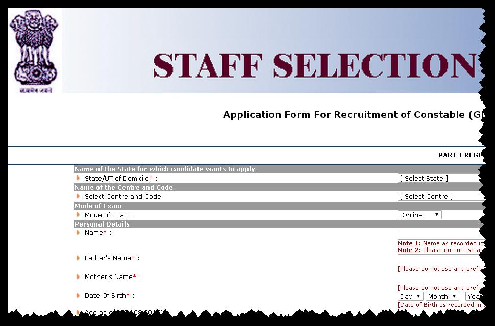 SSC Constable Recruitment 2015 for CAPFs, NIA, SSF & Assam Rifles