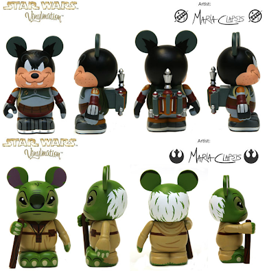 Star Wars x Disney Vinylmation Series - Pete as Boba Fett & Stitch as Yoda