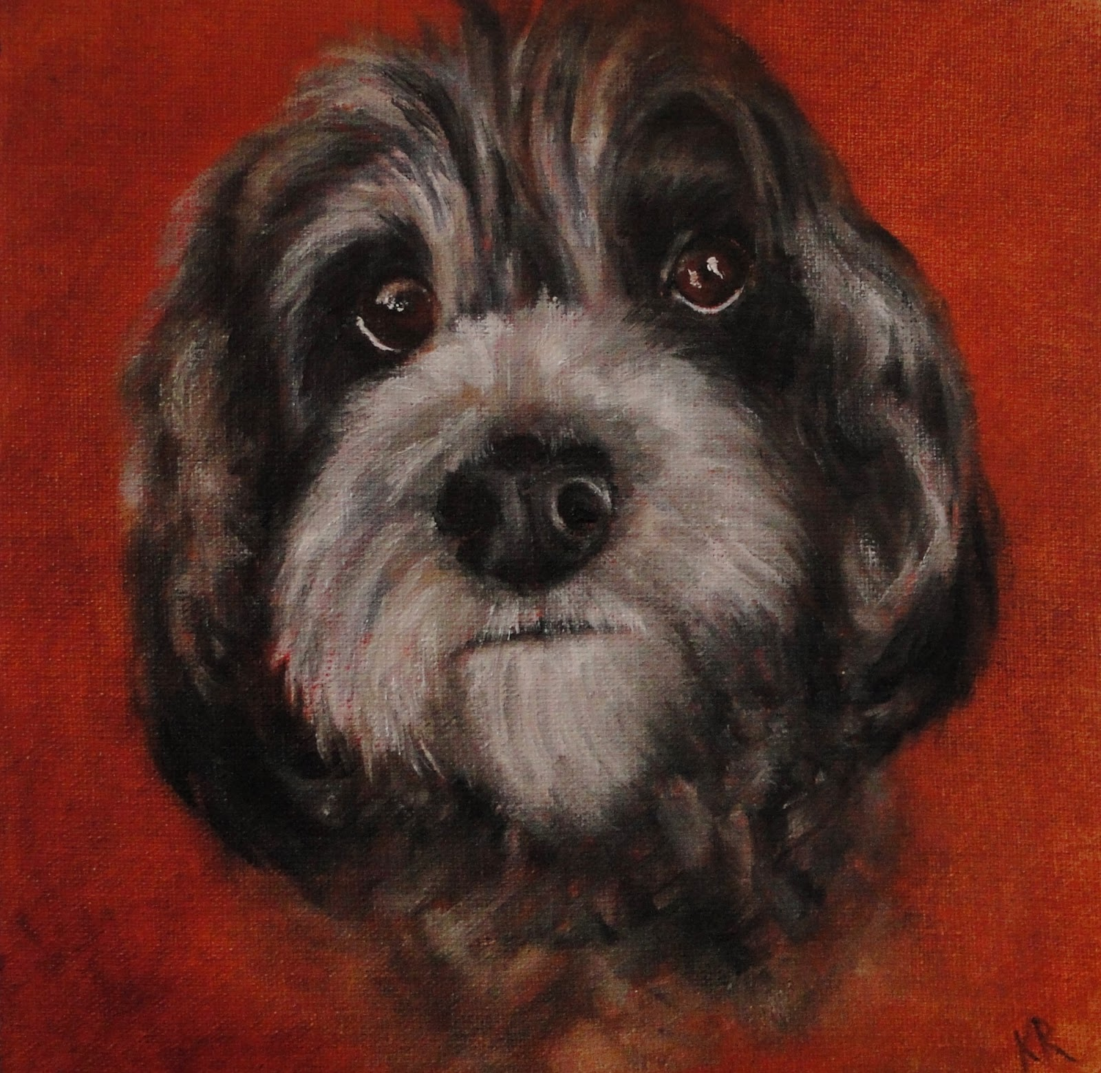 Oil painting, portrait of a dog, sweet face, a pet portrait by Karen