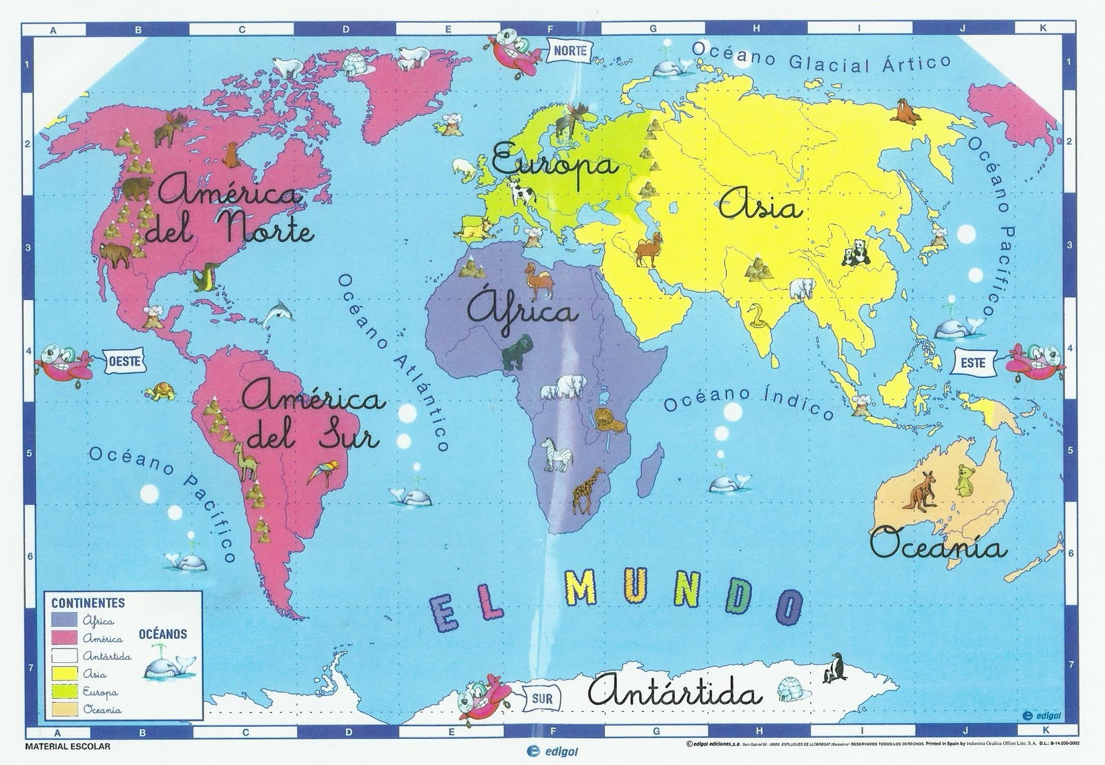 Continentes y Océanos.