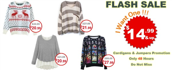 Romwe Bestseller Flash Sale Jumpers & Cardigans for only $14.99