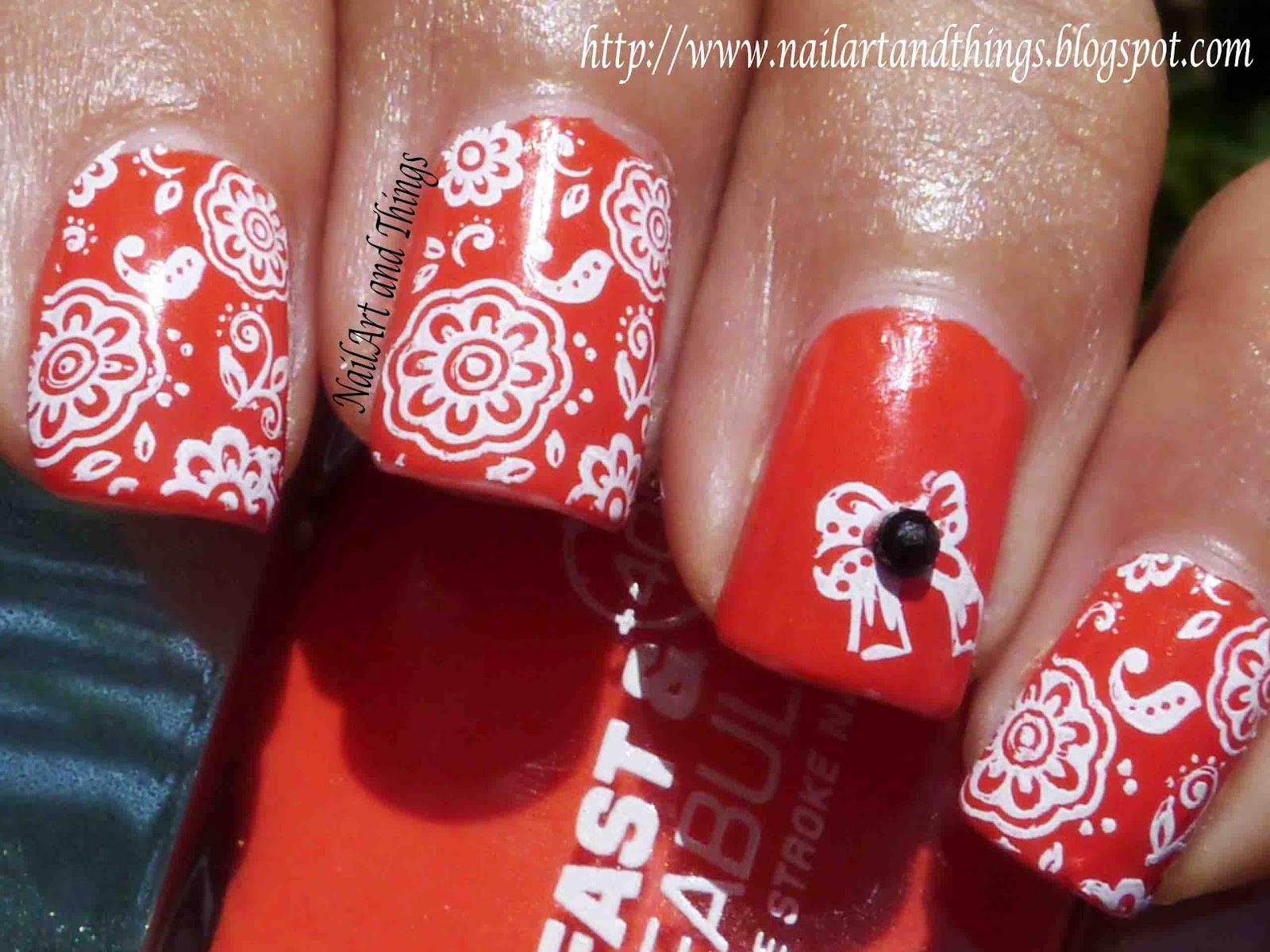 NailArt and Things: Lakmé Flaming Orange + Indian Nail Art