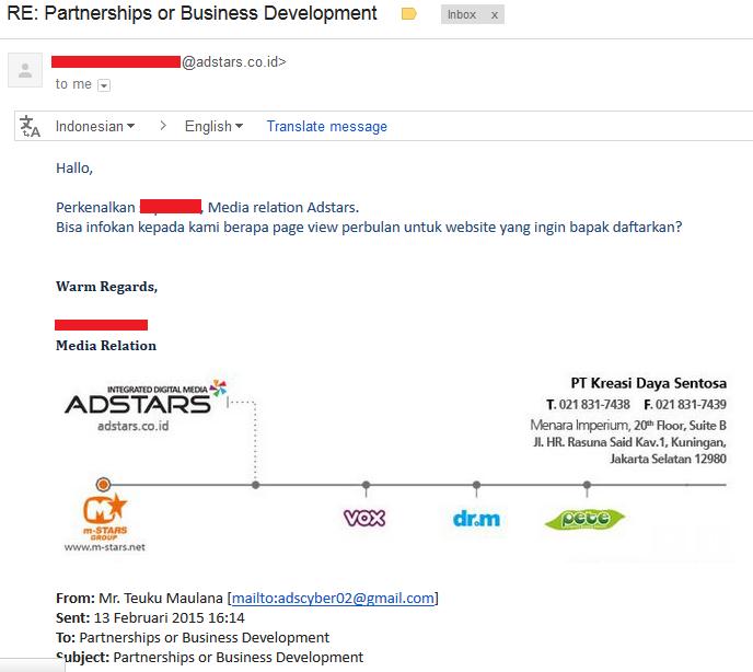 Email dari Adstars.co.id
