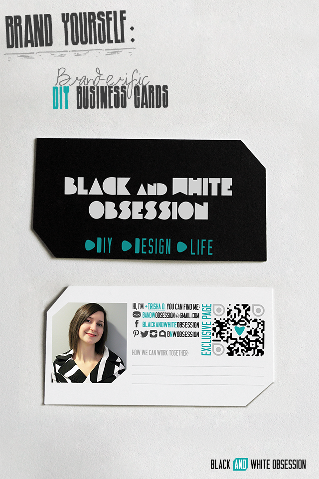 DIY Business cards, part of the series: Brand Yourself- Brand-erific Ideas to Brand-ify Your Creative Business | www.blackandwhiteobsession.com #silhouette #DIY
