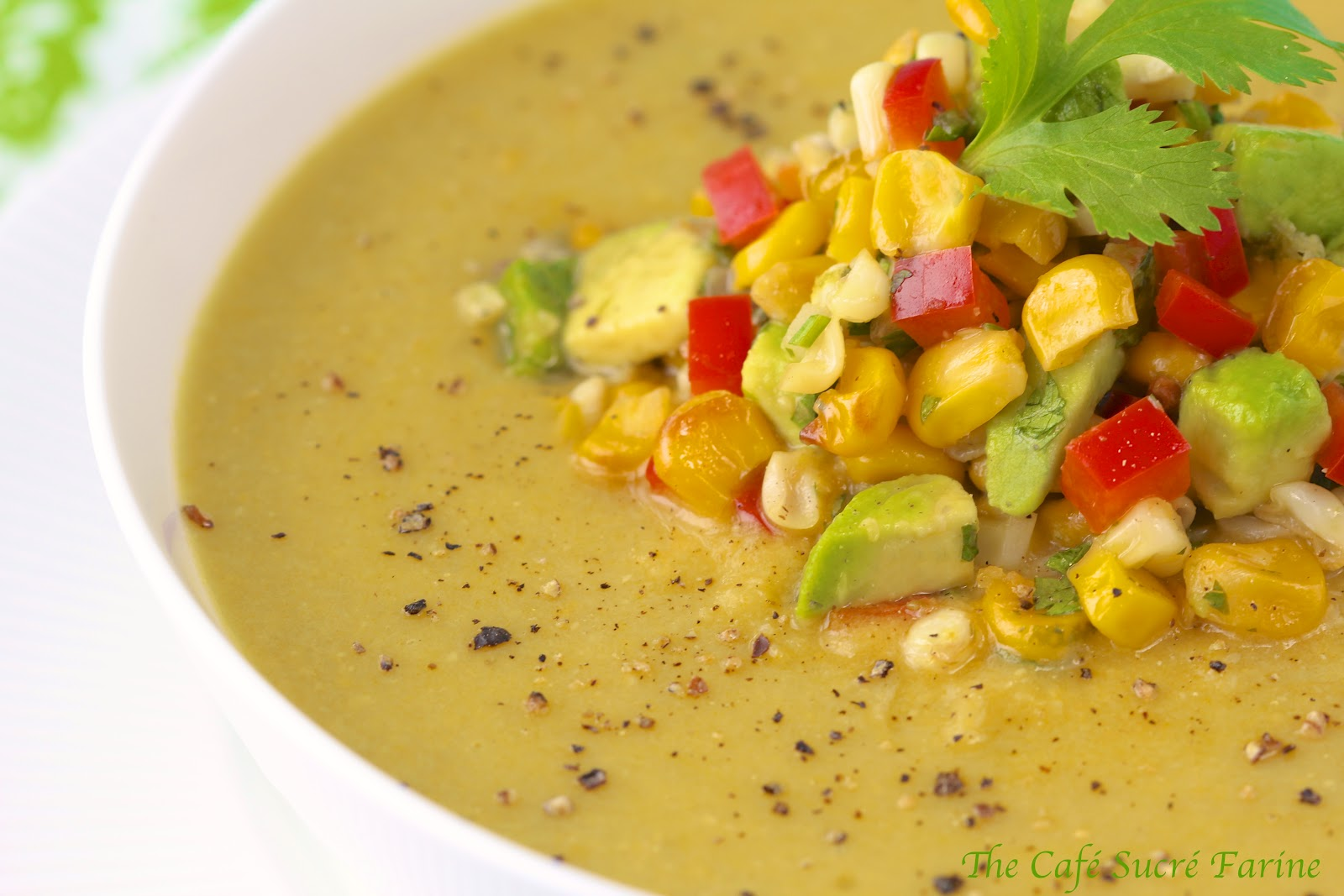 Fresh Corn Soup w/ Roasted Corn/Avocado Salsa | The Café Sucre Farine