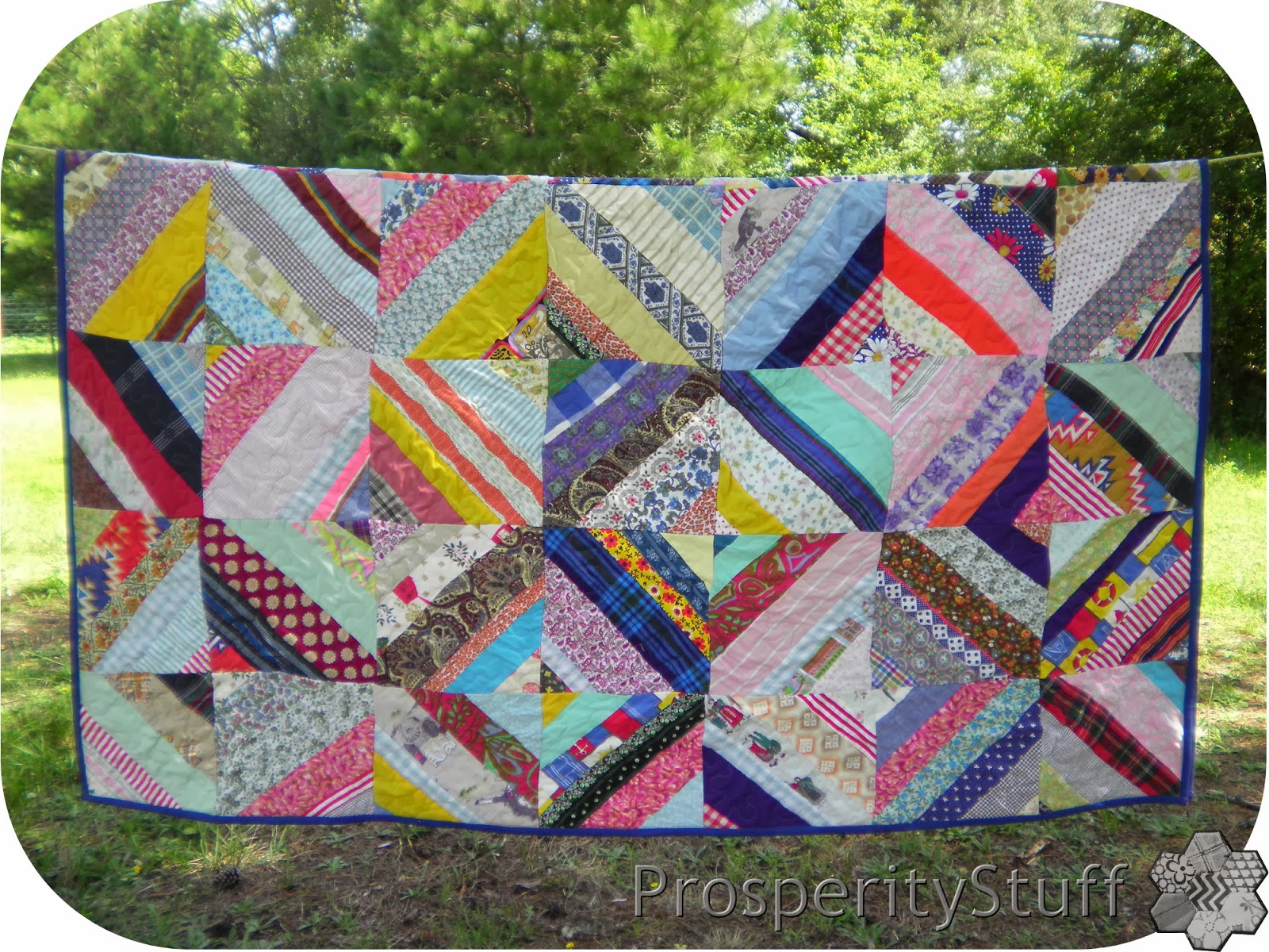 Finished Vintage Quilt on the Clothesline