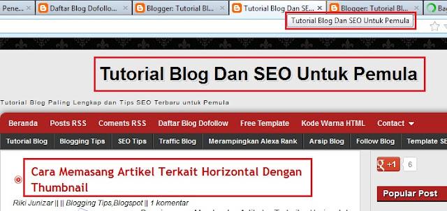 Contoh Dynamic Heading Pada Tutorial Blog dan SEO Untuk Pemula