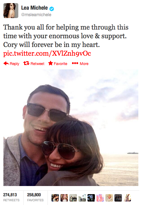 """""""Thank you all for helping me through this time with your enormous love & support. Cory will forever be in my heart."""""""