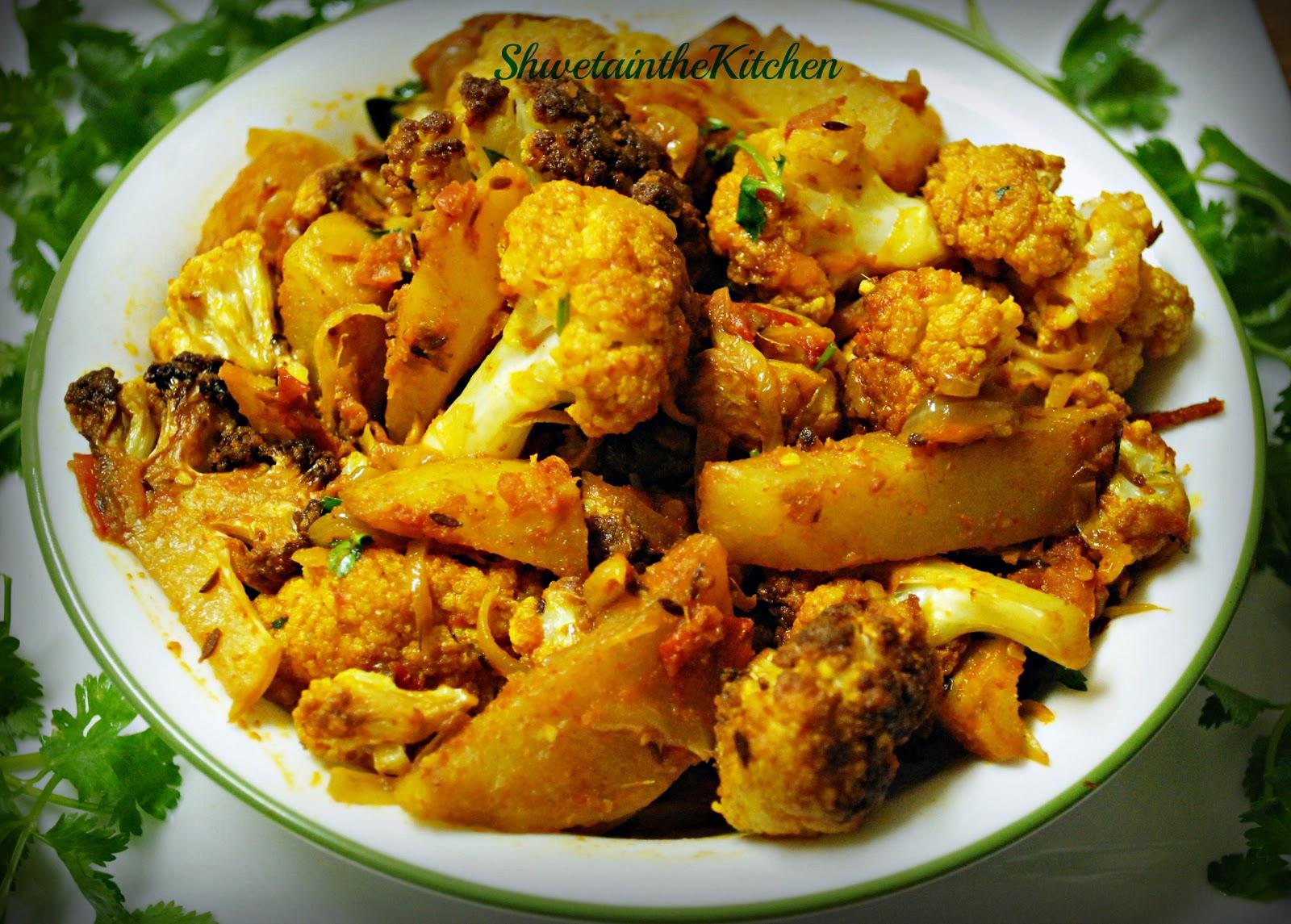 ... : Aloo Gobi - Potato Cauliflower - Fried version - Punjabi Aloo Gobi