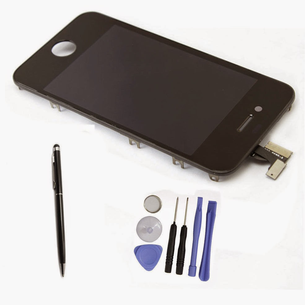 LCD Display Digitizer Touch Screen + Frame for Apple iPhone 4 Black + Tools