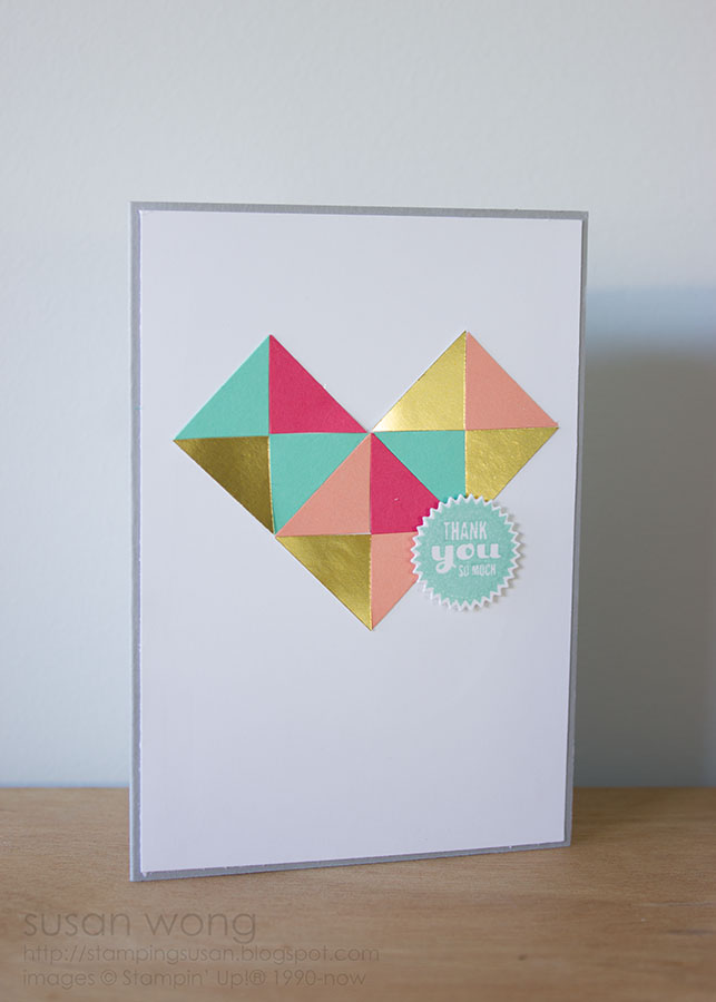 Susan Wong. Geometric heart thank you card.