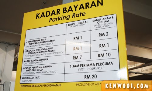 parking rate board