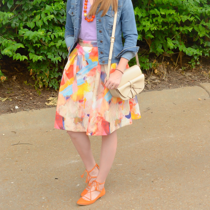 Watercolor midi skirt