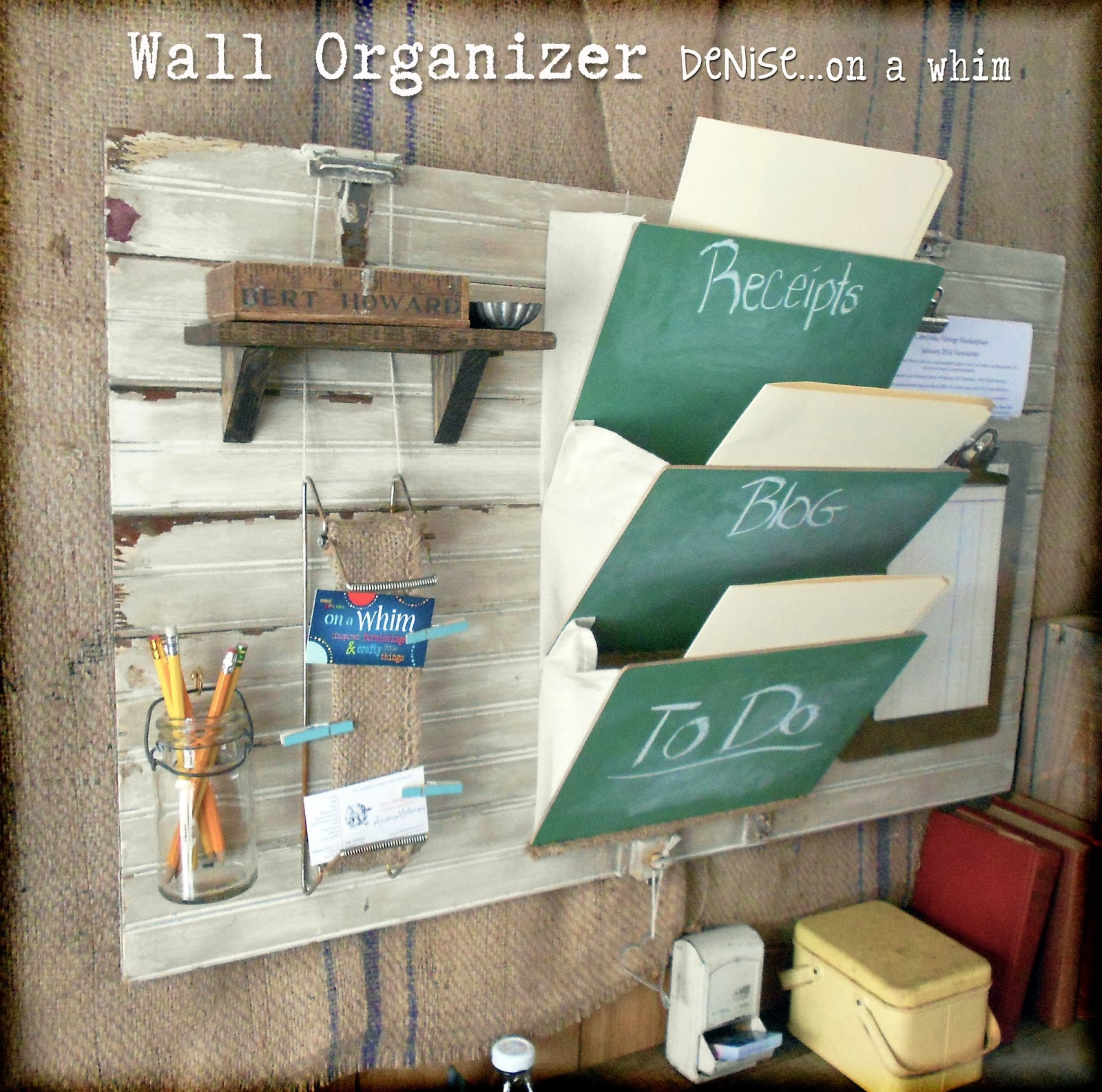 Wall Organizer Made from Junk and Thrifty Finds via http://deniseonawhim.blogspot.com