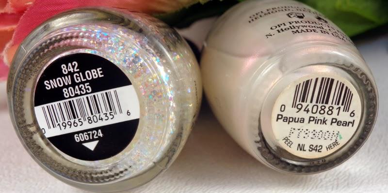 OPI Papua Pink Pearl and China Glaze Snow Globe