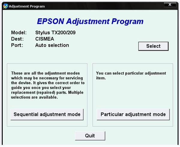 Epson TX200 Resetter Download