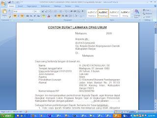 Berikut adalah contoh surat lamaran untuk cpns , semoga bermanfaat