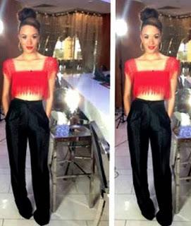 Eku Edewor flatters her figure In a Red Crop Top and Black Pant Trouser
