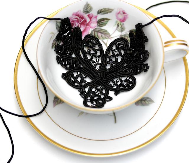 Antique Black Lace Necklace #black #antique #lace #jewelry