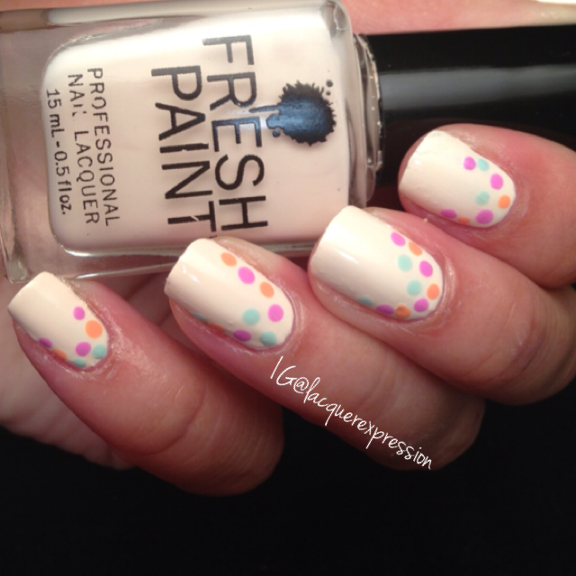Reverse French dotticure using Coconut nail polish by Fresh Paint