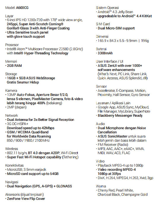 Spesifikasi ASUS ZenFone Smartphone Android Terbaik Zenfone 6