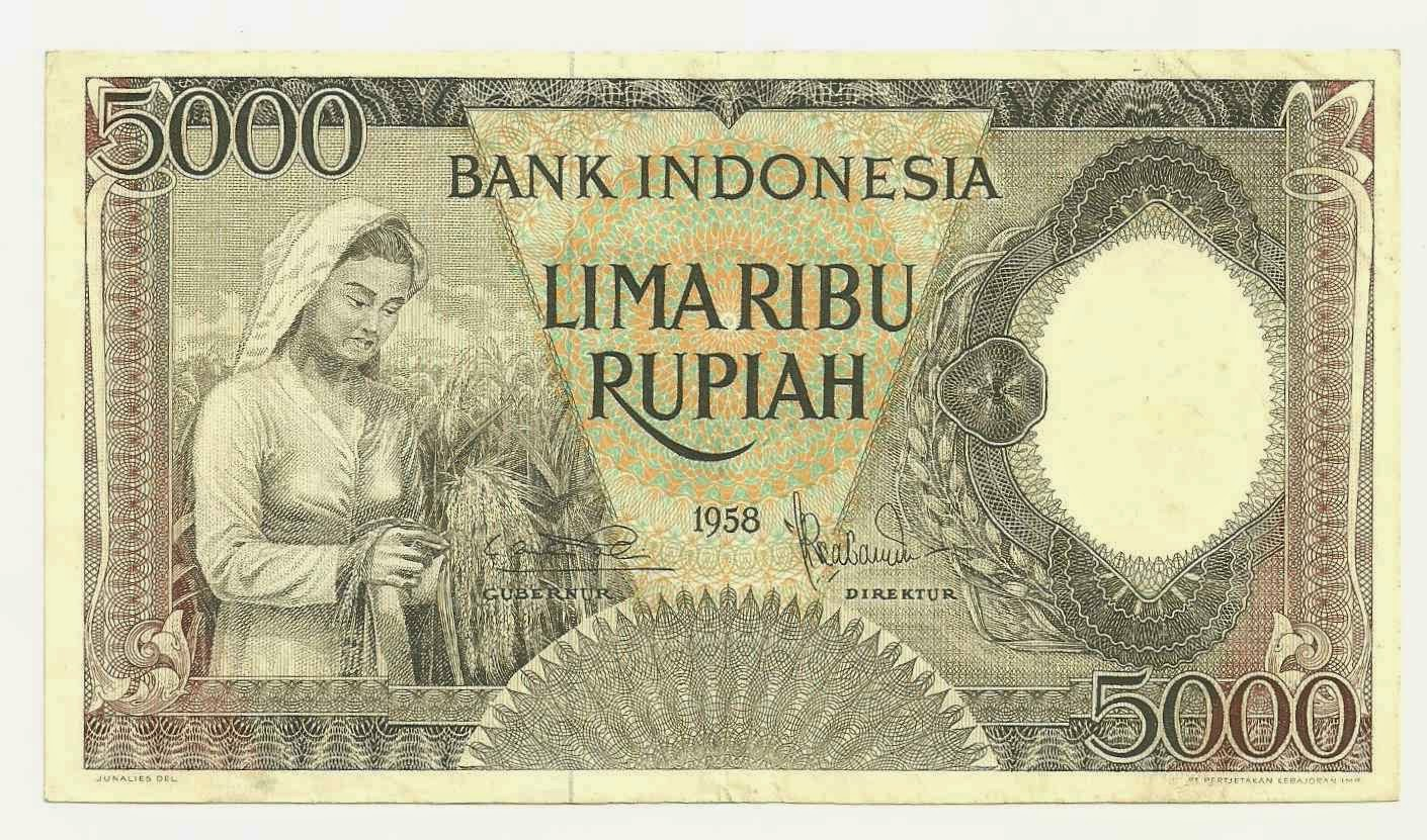 uang kuno Seri pekerja tangan tahun 1958 pecahan 5000 Brown