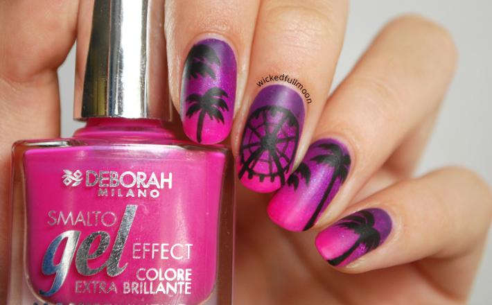 Wicked Fullmoon: | Nail Art | Paisaje de palmeras Coachella.