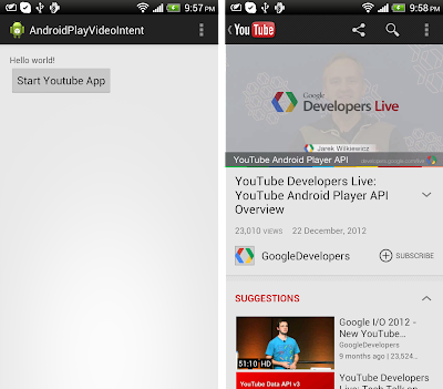 Create intent to specified video in Youtube App