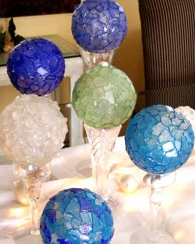 seaglass Christmas balls