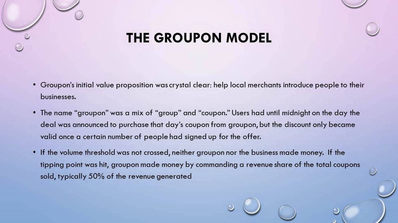 ecommerce model of groupon Information system & e-commerce information system & e-commerce saturday, 5 july 2014 case study groupon's business model : social and local.