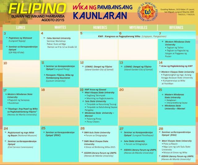 calendar of events Buwan ng Wika 2015