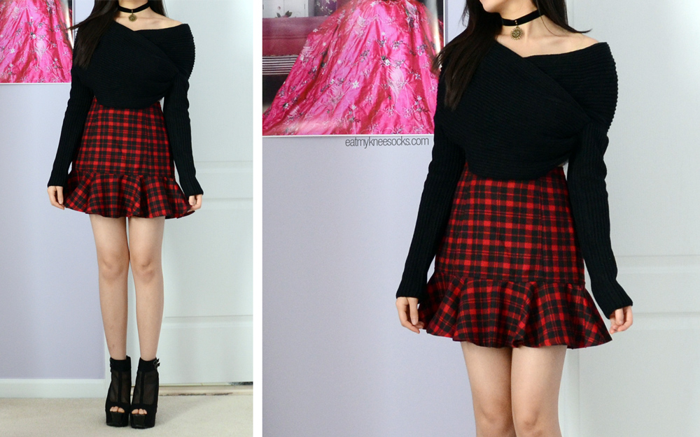 More photos of the red plaid skirt and cropped off-shoulder sweater, both part of my JollyChic fashion haul.