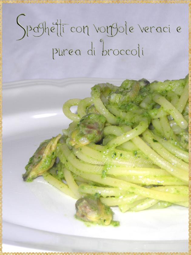 Spaghetti con vongole veraci e purea di broccoli