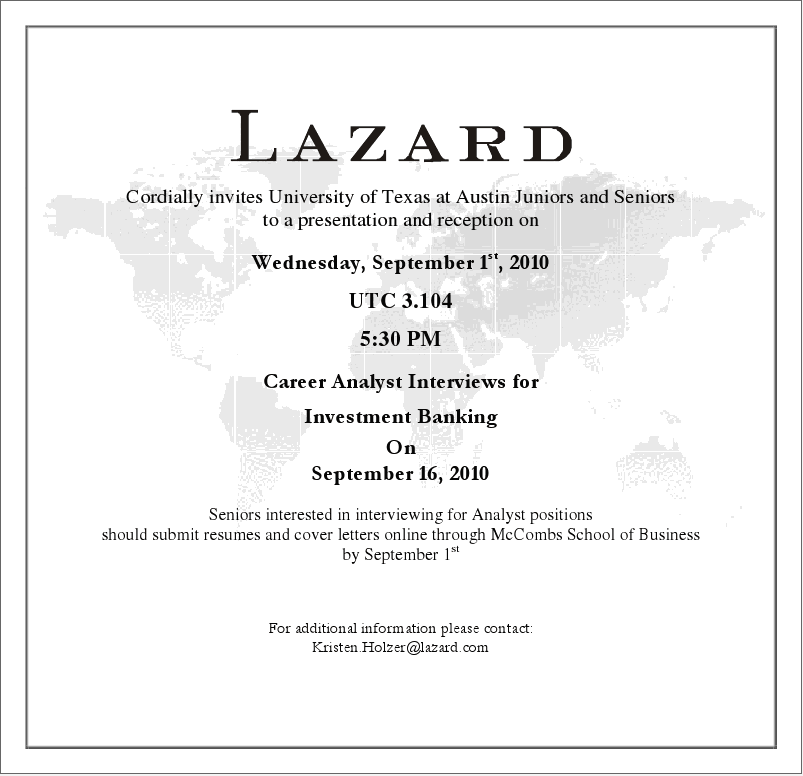 TEXAS ENERGY FORUM: Lazard Energy Group Presentation and Reception ...