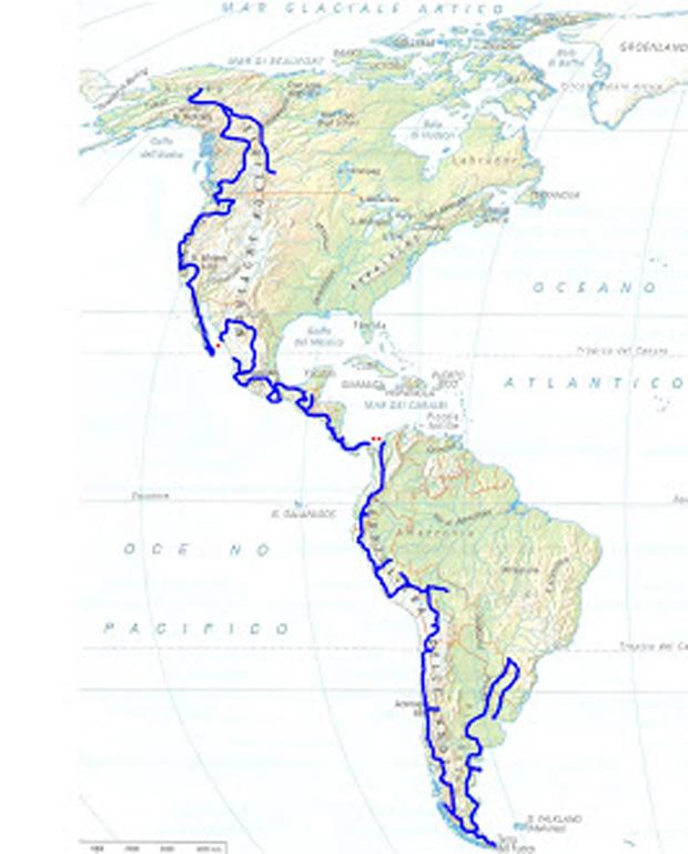 """L'itinerario di MIRIAM ORLANDI con la """"BMW R100GS"""" (1.000 cc.) del 1992, durato 23 mesi (2008-'10)."""