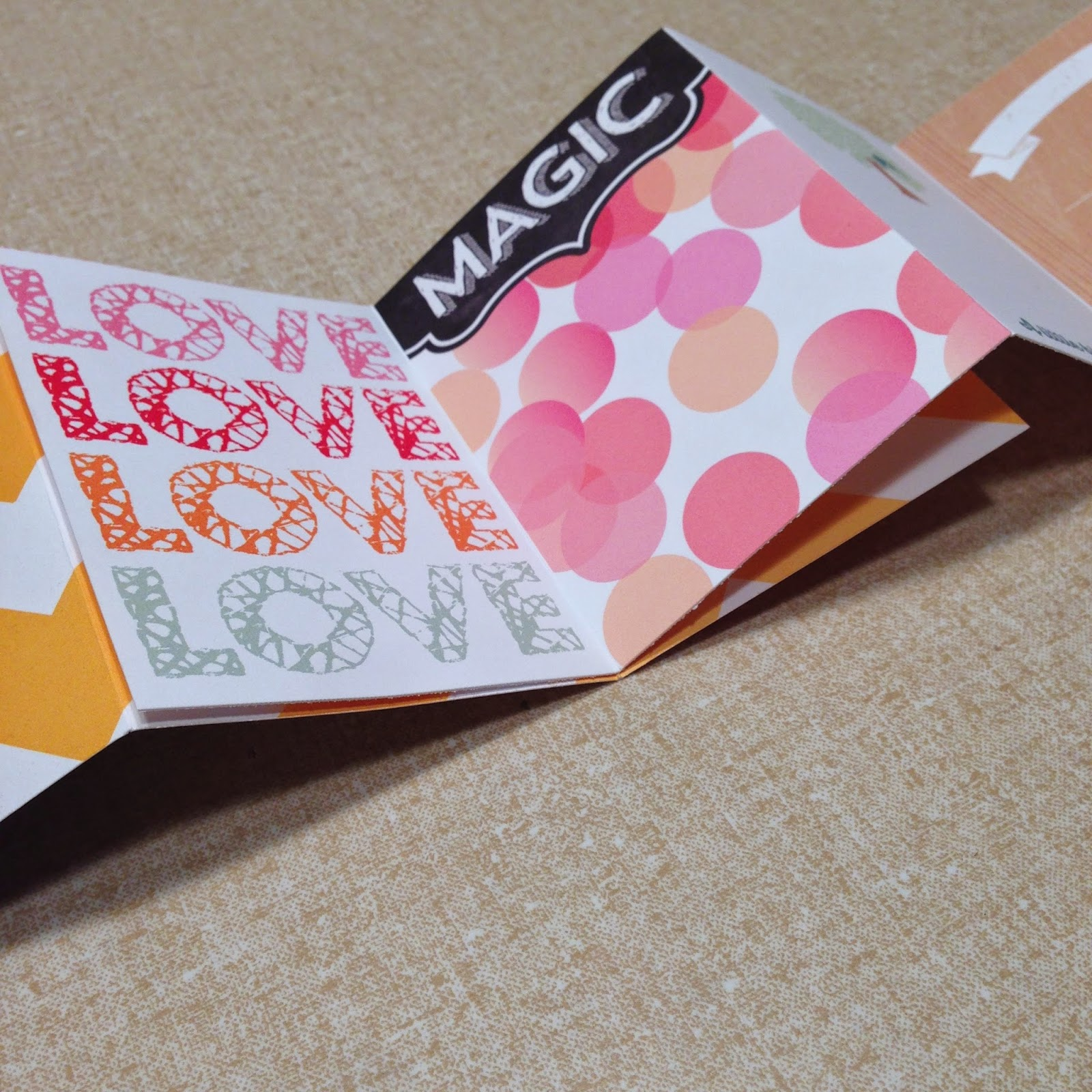 overlap strips of cards to make a mini album