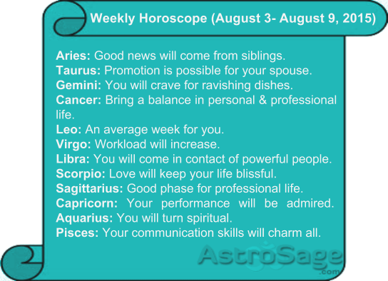 Know the future of your upcoming week with weekly horoscopes.