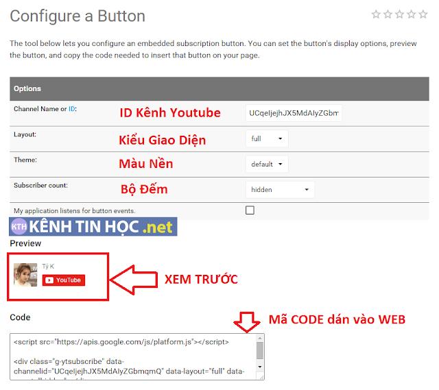 Hướng dẫn CODE nhúng nút đăng ký kênh Youtube vào website